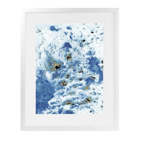 MARBLED BLUE White Framed Giclee Print By Marina Gutierrez