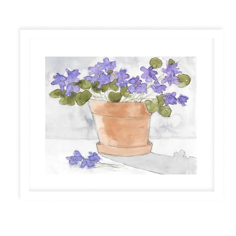 VIOLETS White Framed Giclee Print by Kavka Designs