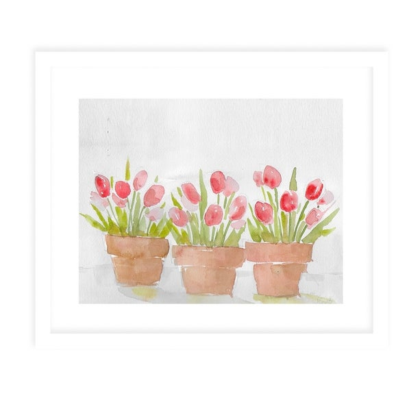 TULIPS POTS White Framed Giclee Print By Jayne Conte