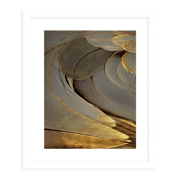 FEATHER GOLD White Framed Giclee Print By Diane Pattie