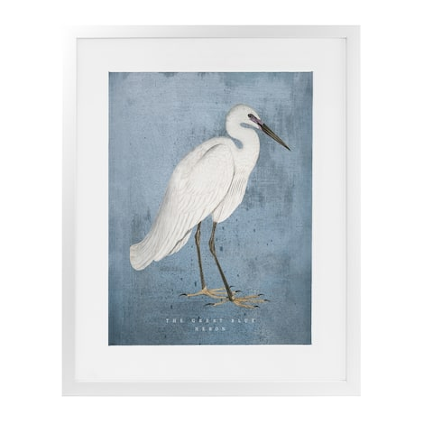 THE GREAT BLUE HERON White Framed Giclee Print By Kavka Designs