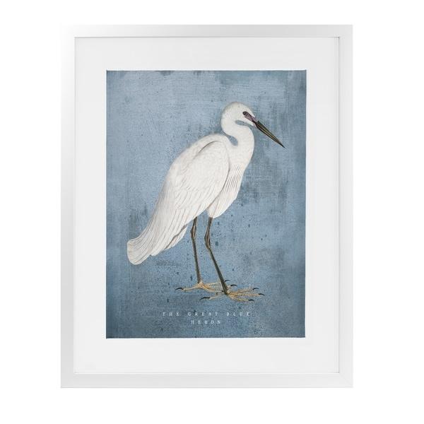 THE GREAT BLUE HERON White Framed Giclee Print By Terri Ellis