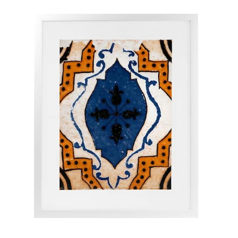 MOROCCAN BLUE TILE White Framed Giclee Print by Kavka Designs