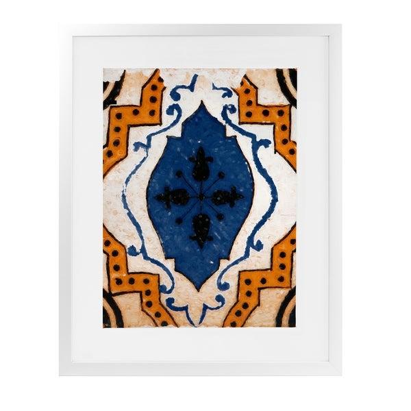 MOROCCAN BLUE TILE White Framed Giclee Print By Terri Ellis