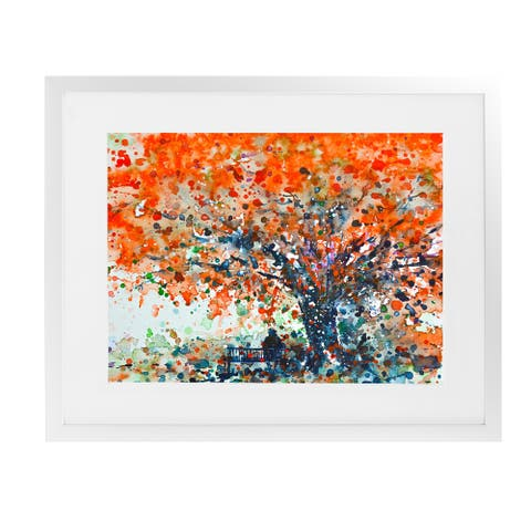 UNDER THE SHADE OF THE FLAMBOYANT White Framed Giclee Print By Kavka Designs