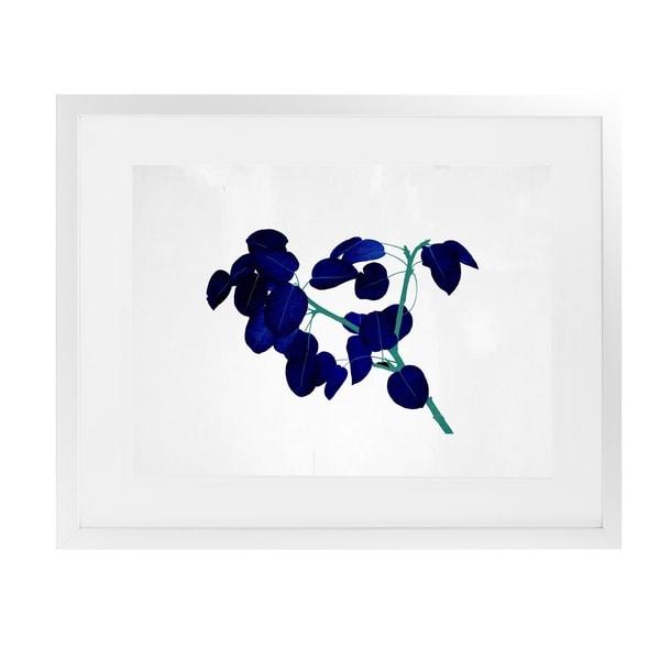 BLUE LEAVES White Framed Giclee Print By Terri Ellis