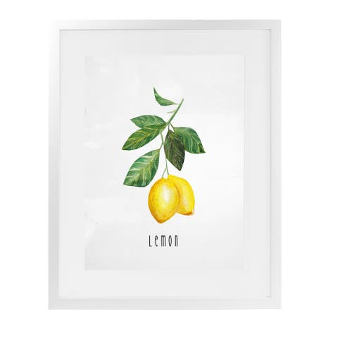 LEMON 2 White Framed Giclee Print by Kavka Designs