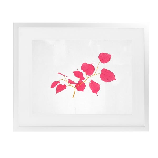 PINK LEAVES White Framed Giclee Print By Terri Ellis