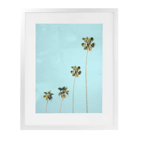 FOUR PALMS White Framed Giclee Print by Kavka Designs