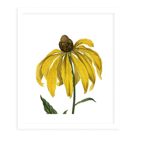 FLOWER NINETEEN WHITE White Framed Giclee Print by Kavka Designs