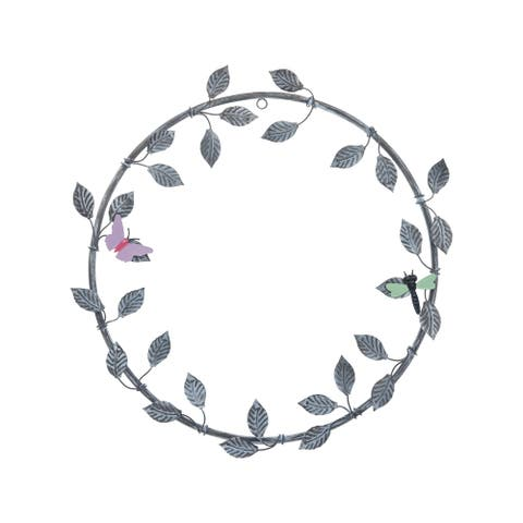 Foreside Home & Garden Metal Wreath with Two Magnetic Butterflies