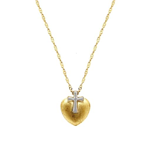 """Forever Last 10 K Gold Bonded over Silver 18"""" heart/cross Necklace"""