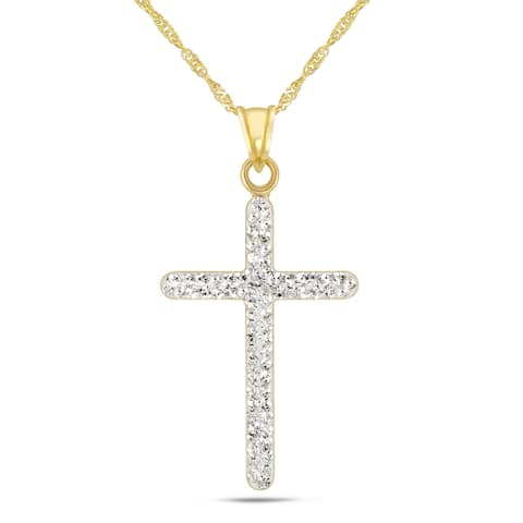 """Forever Last 10 K Gold Bonded over Silver 18"""" Cross Necklace"""