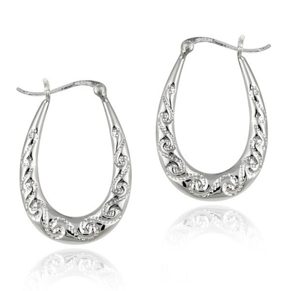 Shop Mondevio Sterling Silver Etched Scroll Hoop Earrings