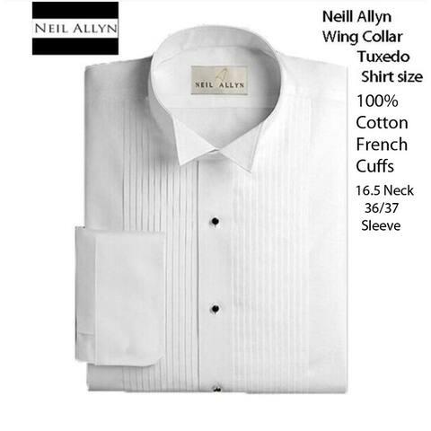 Men's Wing Collar Tuxedo Shirt, Size 16.5 Neck 36/37 Sleeve 100% Cotton