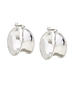 Mondevio Sterling Silver Corrugated Wide Hoop Earrings