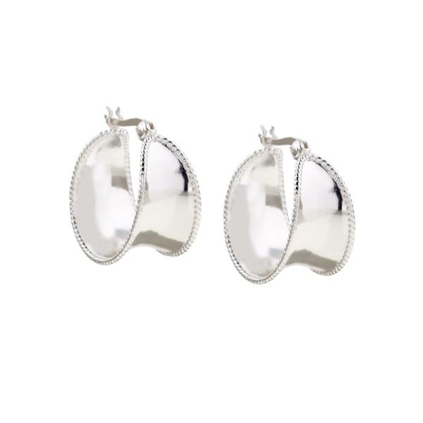 a55ef8d34e90b Mondevio Sterling Silver Corrugated Wide Hoop Earrings