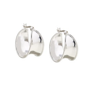 Mondevio Sterling Silver Corrugated Wide Hoop Earrings