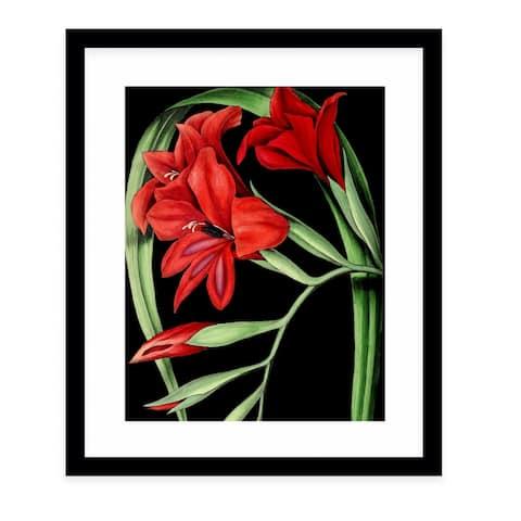 FLOWER TWELVE BLACK Black Framed Giclee Print by Kavka Designs