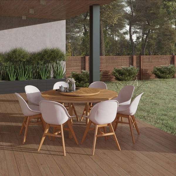 Gonilla 9-piece Wood Lazy Susan Dining Set with Resin Chairs by Havenside Home. Opens flyout.