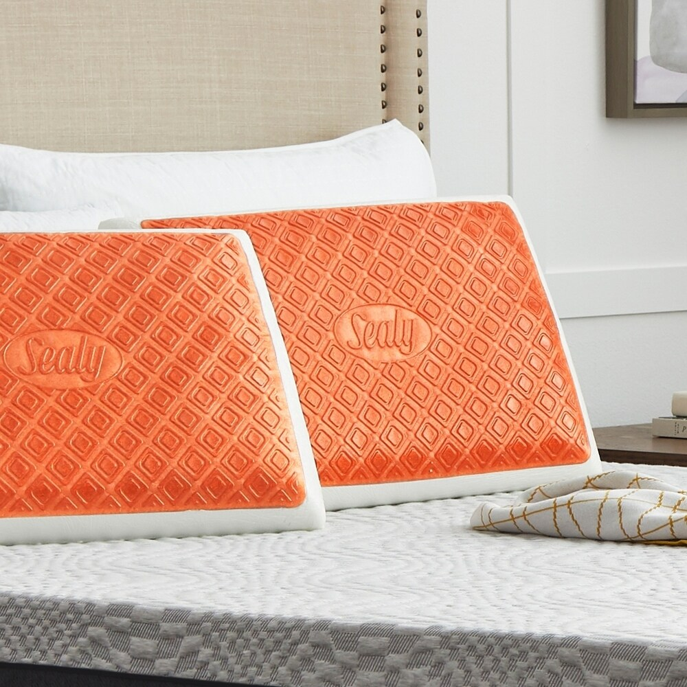 Copper SealyChill? Gel Memory Foam Bed Pillow with Anti-Microbial Cover. Opens flyout.