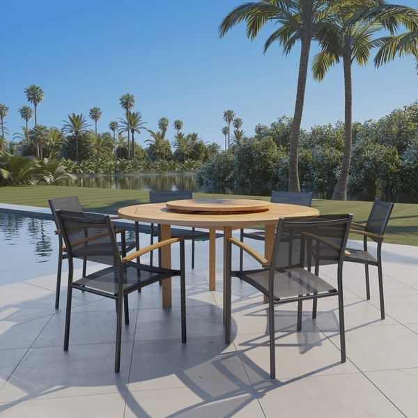 Havenside Home Gonilla 7-piece Wood Lazy Susan Dining Set with Aluminum Chairs