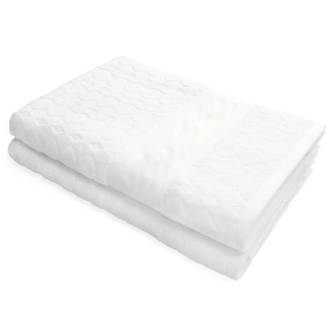 Kaufman, Luxury White Velour Jacquard Towel Heavy Weight Towel - 35 x 68