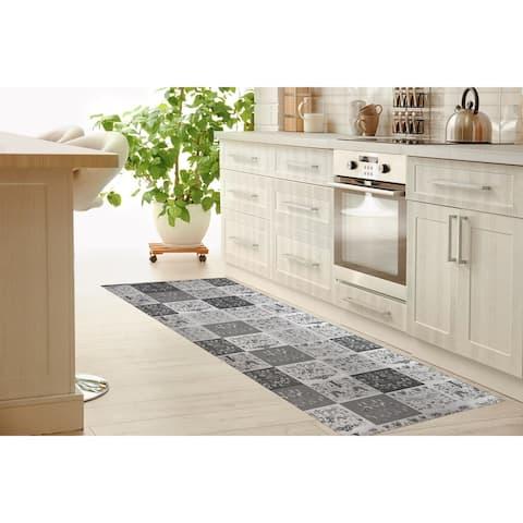 SCANDINAVIAN PATCHWORK GREYSCALE Kitchen Mat By Kavka Designs