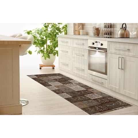 SCANDINAVIAN PATCHWORK NEUTRAL Kitchen Mat By Kavka Designs