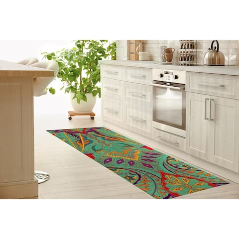 MAHAL AQUA Kitchen Mat By Kavka Designs