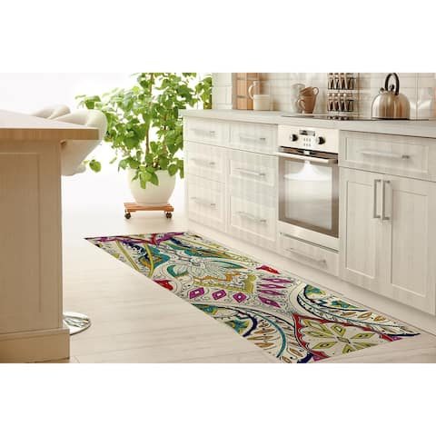 MAHAL IVORY MULTI Kitchen Mat By Kavka Designs