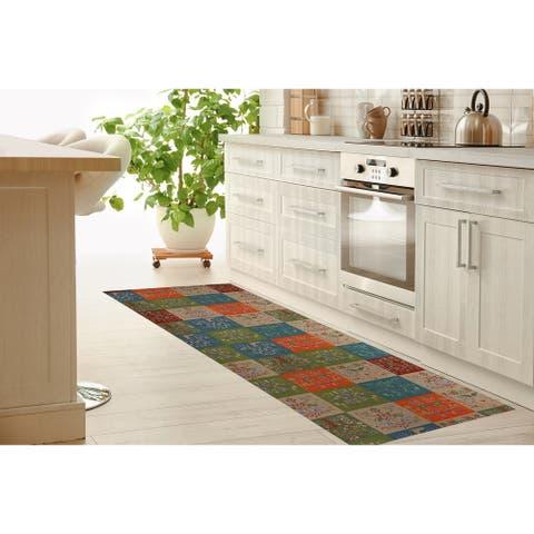SCANDINAVIAN PATCHWORK TUSCAN TONES Kitchen Mat By Kavka Designs
