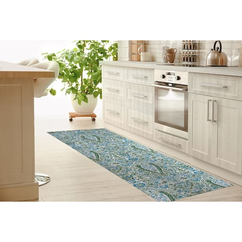KIRMAN BLUE AND GREEN REVERSED Kitchen Mat By Kavka Designs