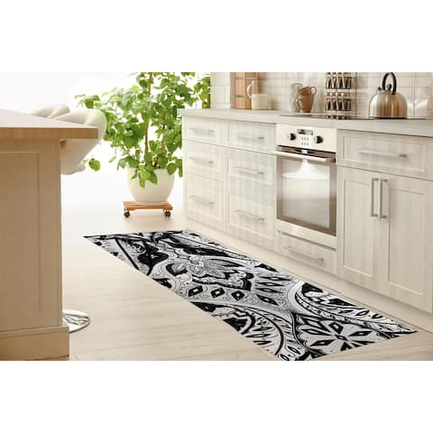 MAHAL BLACK AND WHITE Kitchen Mat By Kavka Designs