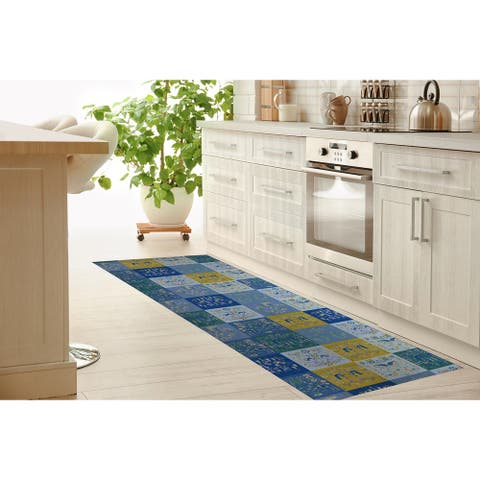 SCANDINAVIAN PATCHWORK JEWEL TONES Kitchen Mat By Kavka Designs