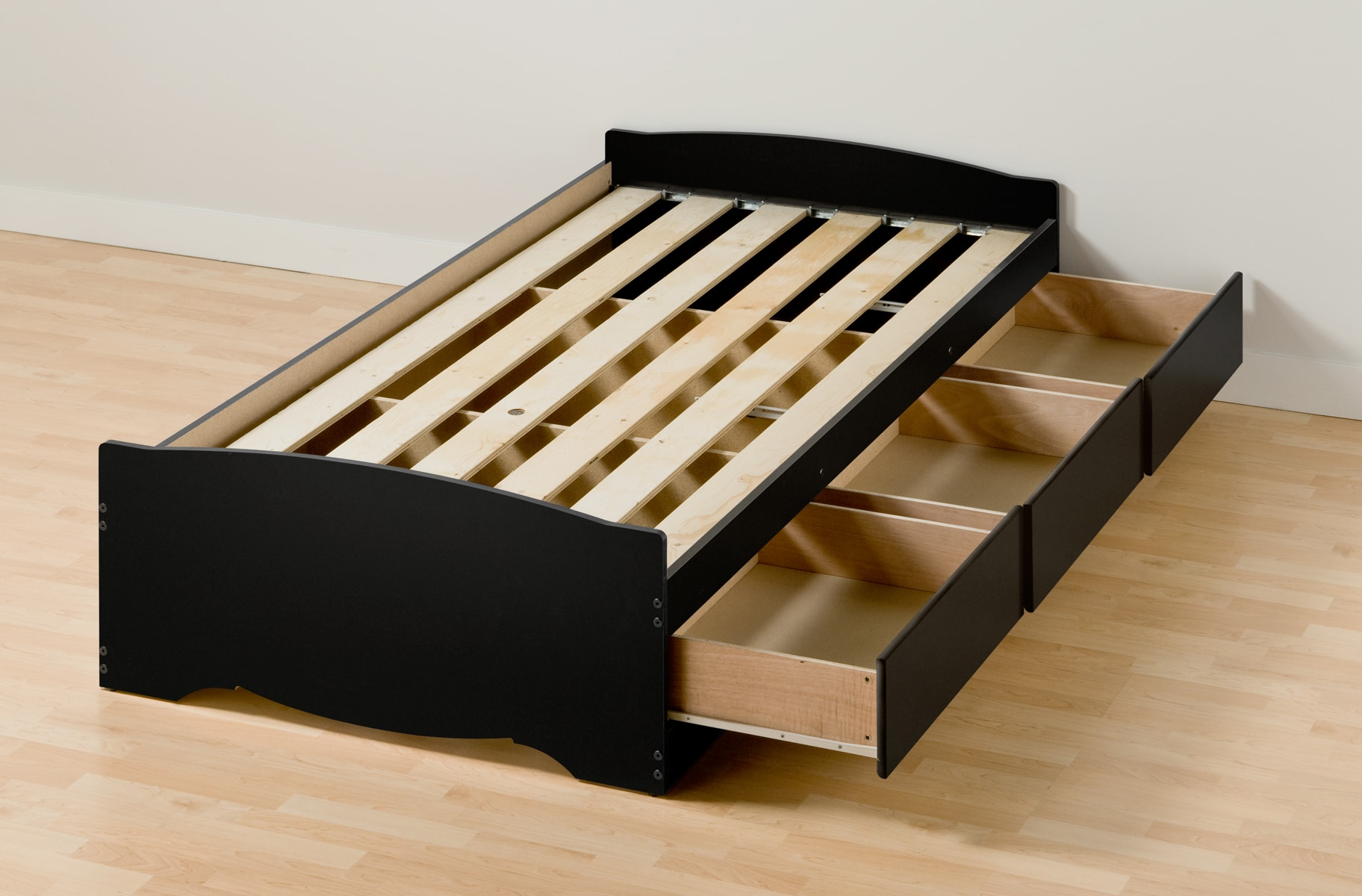 Black Twin XL Mates Platform Storage Bed With 3 Drawers