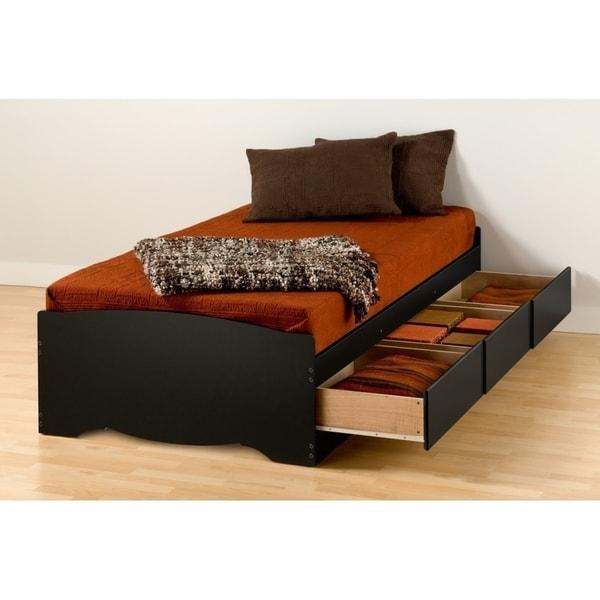 Prepac Twin XL Mate Black Wood and Laminate Platform 3-drawer Storage Bed
