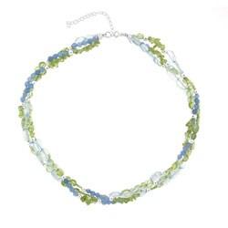 Glitzy Rocks Sterling Silver Blue Quartz and Peridot Necklace