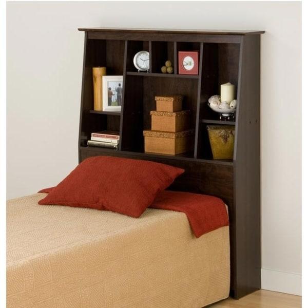 Everett Espresso TwinTall Slant-Back Wood Bookcase Headboard