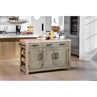 OSP Home Furnishings Cocina Kitchen Island with Spice Rack and Wood Top