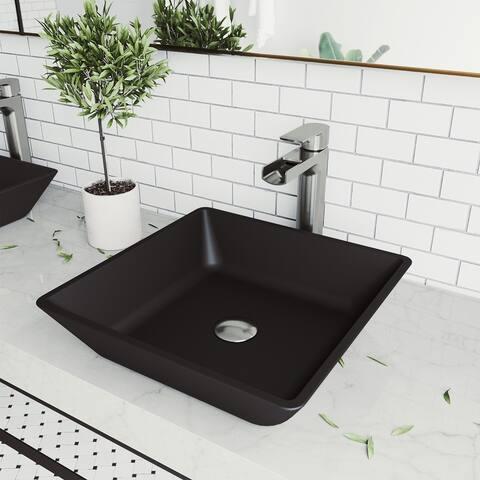 VIGO Black Roma MatteShellTM Vessel Bathroom Sink