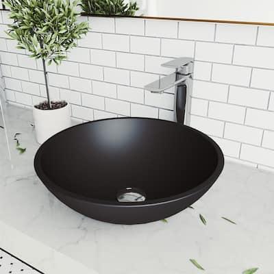 VIGO Black Cavalli MatteShellTM Vessel Bathroom Sink