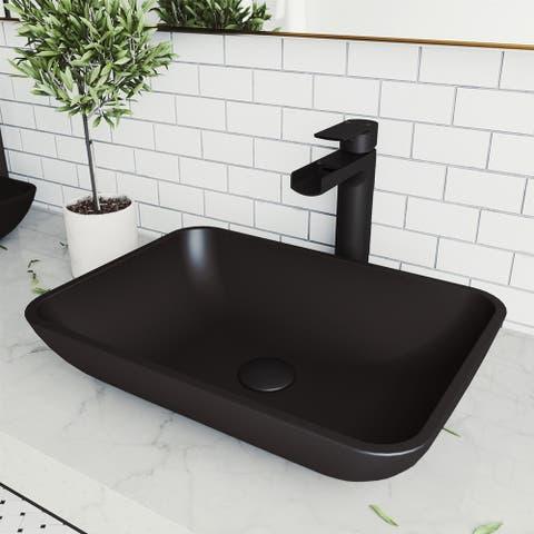 VIGO Black Sottile MatteShellTM Vessel Bathroom Sink
