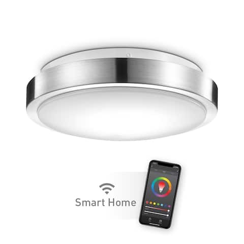 "Wi-Fi Smart 11"" Brushed Nickel Flush Mount Ceiling Light 16W"