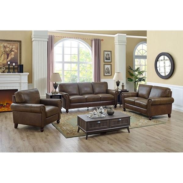 Shop 3 Piece Top Grain Leather Living Room Set - Overstock ...