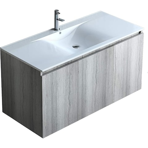 Wall Mount Floating Vanity Set Grey Oak with White Porcelain Top