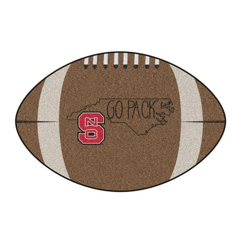 """NC State Southern Style Football Rug 20.5""""x32.5"""""""