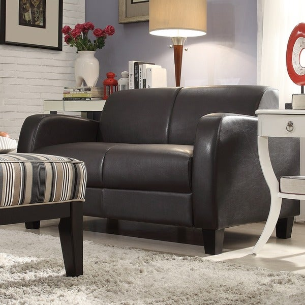 Shop TRIBECCA HOME Clove Brown Faux Leather Contemporary