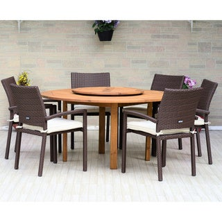 Havenside Home Gonilla 7-piece Lazy Susan Wood Dining Set with Wicker Armchairs