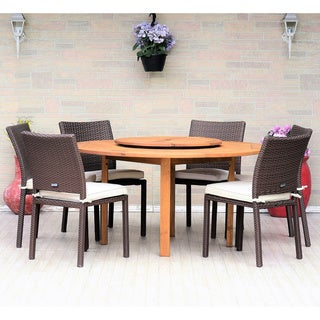 Gonilla 7-piece Lazy Susan Wood Dining Set with Wicker Chairs by Havenside Home